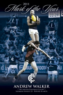 Andrew Walker Mark of the Year poster designed for the Carlton Football Club