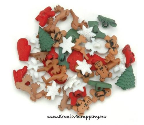BUTTONS - DRESS IT UP JUL 1168 - CHRISTMAS MINIATURES Pakke med ca. 28 stk i pakken.   JESSE JAMES-Dress It Up Button Embellishments. Tiny embellishments for adding dimension to all of your scrapbook pages, cards, invitations and craft projects. Button embellishments come in a variety of shapes and sizes and some even feature glitter. Size, shape and number of embellishments per package varies by theme.