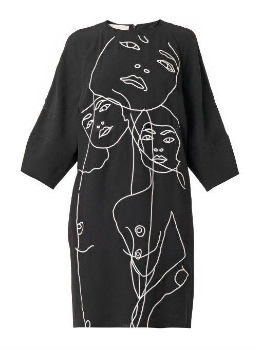 Stella McCartney Embroidered crepe dress