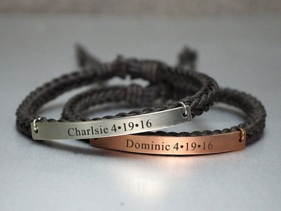 Matching Couple Bracelets Name Anniversary Date by TimArtCreations