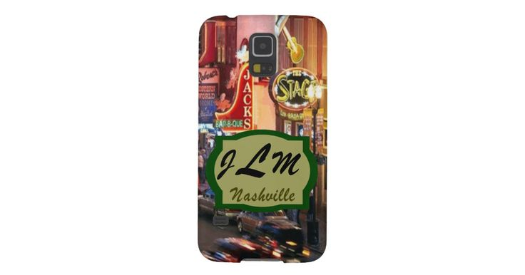 Nashville Samsung Galazy S5 Barely There Case This custom Nashville mobile phone design features lower Broadway in downtown Music City USA. You can personalize the case by adding your initials.