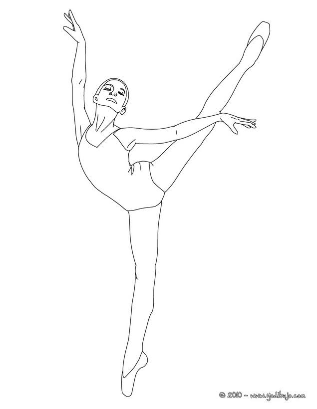 Dibujo para colorear una bailarina haciendo un pique arabesco