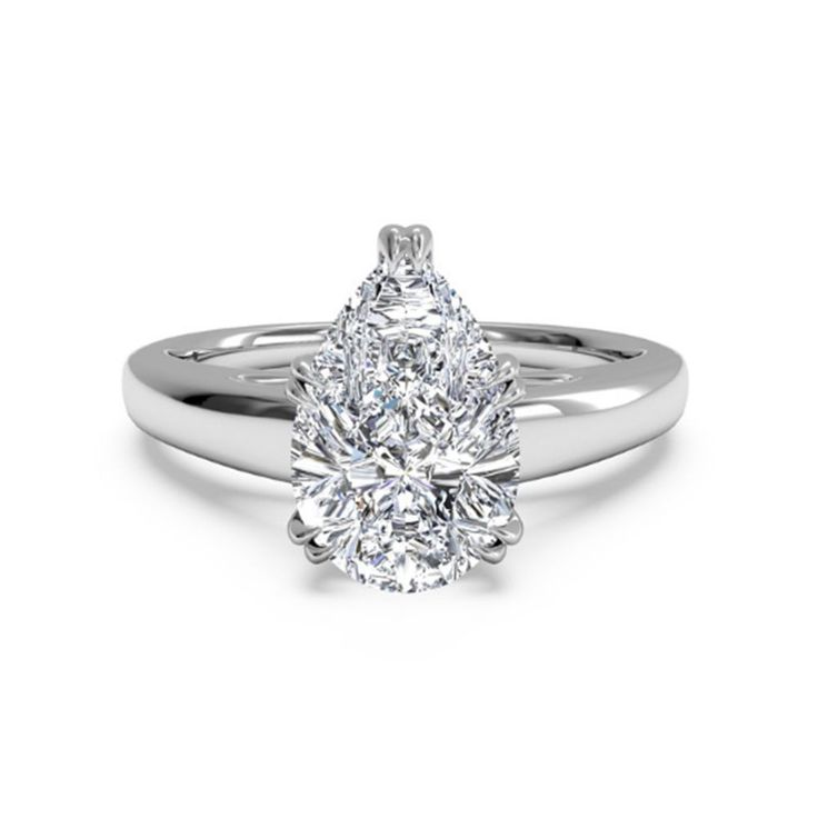 pear cut200 ct diamond engagement ring hallmarked 14k real white gold 5 - Real Diamond Wedding Rings