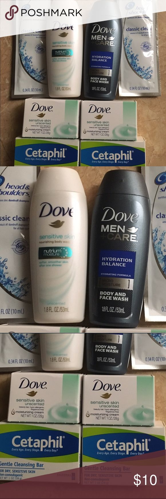 Bundle of Products 2 Head and Shoulders, Dove body wash, Dove body wash for men, 2 mini Dove bars, 2 Cetafil soap bars .  .. .. BUNDLE 4 or More SAVE 20%!!! Spend $50 or more and choose a FREE GIFT!!!!Choose your free gift by commenting on the item..... items with a 🎁 qualify as a free gift! Other
