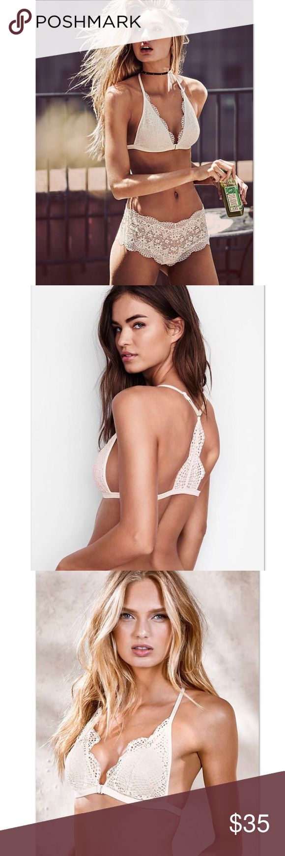VS Front Close Crochet Lace Boho Bralette XL New in Package Size -XL Color - Coconut White Scalloped   A boho beauty underneath it all: with crochet lace in front and back and light padding when you want it.   Style tip: Show off under plunge fronts and open backs