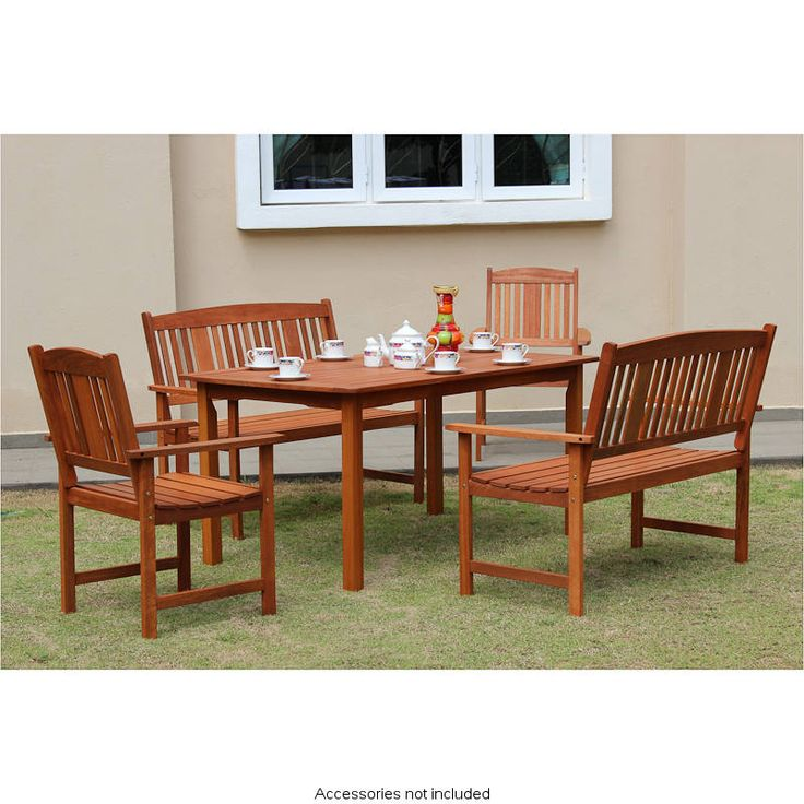 Jakarta Wooden Patio Set 5pc With Images Wooden Patios