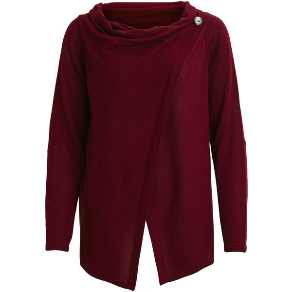 Knitted Cardigan | Object Collectors Items (€23) ❤ liked on Polyvore featuring tops, cardigans, pomegranate, waterfall top, one sleeve top, purple long sleeve top, off one shoulder tops and thin cardigan