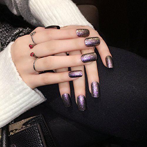 YUNAI French False Nail Wine Red Short Faux ongles à ongles complets avec simplicité et soigné: Pointes à ongles courts, simples mais…