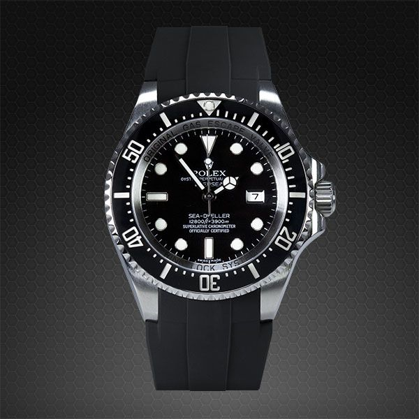 """Introducing The Rubber B Rolex Deepsea Glidelock Watch Strap - by Patrick Kansa - Learn more about it on aBlogtoWatch.com """"Rubber B - The Ultimate Rubber Strap is an American company which has been known to manufacture high-quality vulcanized rubber straps for ROLEX and Panerai brand watches. What separates them from the majority of other third-party suppliers is that their straps are designed to follow the shape of the case of the watch they were made for with extreme accuracy..."""""""