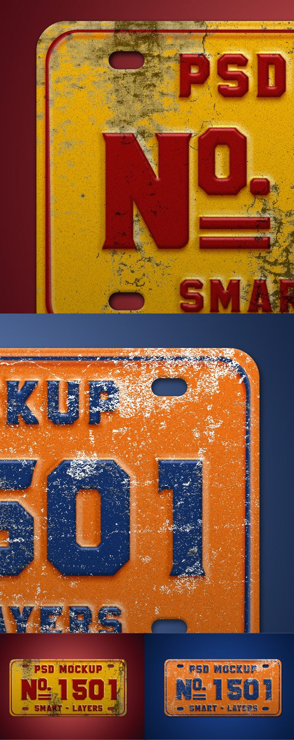 Free Vintage Number Plate Mockup PSD