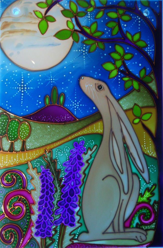 The Moon Gazing Hare Original painted Stained Glass Panel splashbacks & Windows
