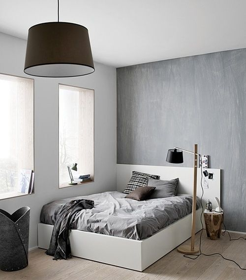 teenager bedroom bed grey white chambre dado decoration - Chambre Simple Chambre Double Difference
