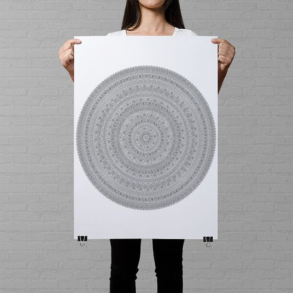 Look at this amazing new item in the AnnaGrundulsDesign shop! Click on the picture for details on ordering :)  giant mandala coloring poster mandala drawing filled with tribal patterns geometrical wall art customizable coloring page for adults by AnnaGrundulsDesign