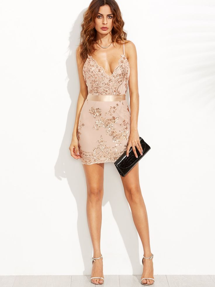 Shop Open Back Plunge Sequins Cami Dress online. SheIn offers Open Back Plunge Sequins Cami Dress & more to fit your fashionable needs.