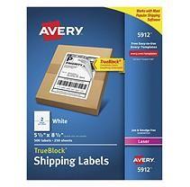 Avery TrueBlock Shipping Labels, Laser, Half Sheet, White, 500ct.