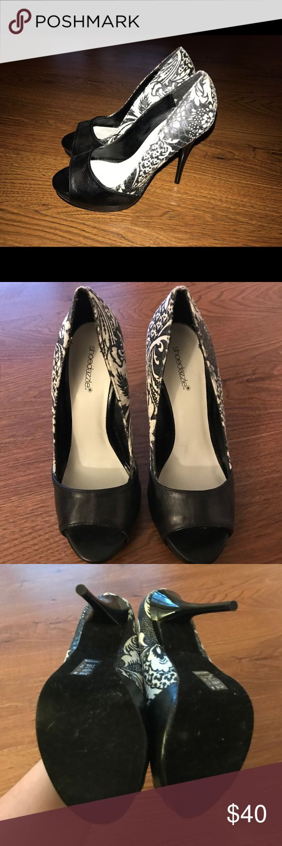 Black and white open toe pumps Black and white paisley open toe pumps. Never been worn. Size 7 ***price negotiable*** Shoe Dazzle Shoes Heels