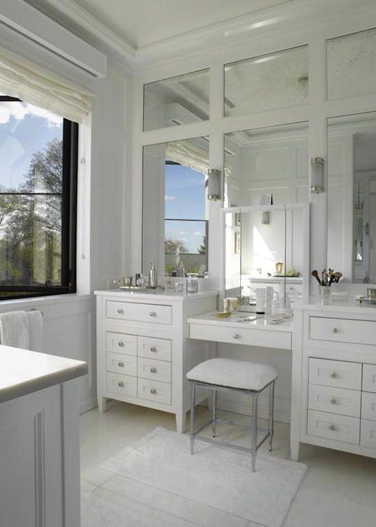 double vanity  make-up vanity design | paneled mirrors