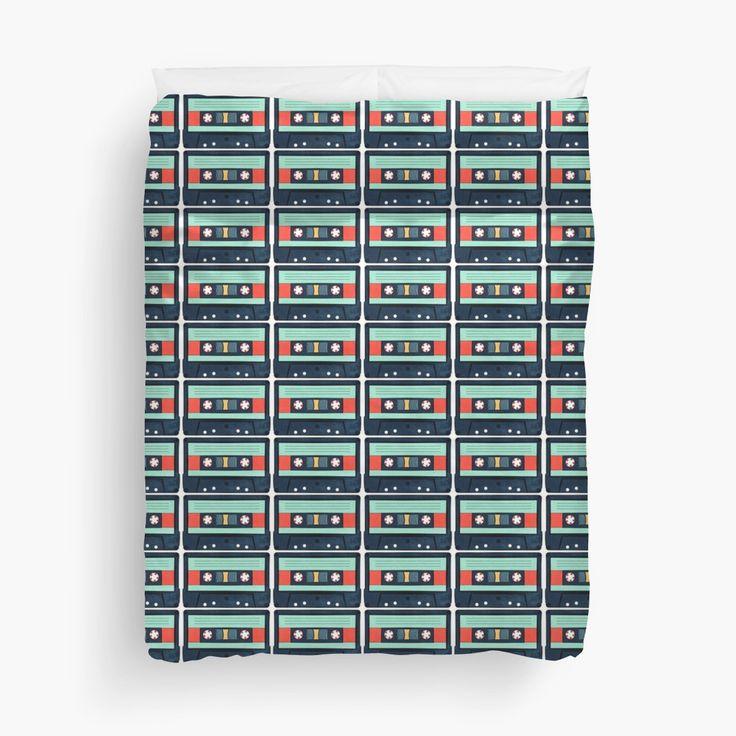 Aqua Cassette Tape pattern Duvet Covers by AnMGoug on Redbubble. #cassette #cassettetape #bed #duvet