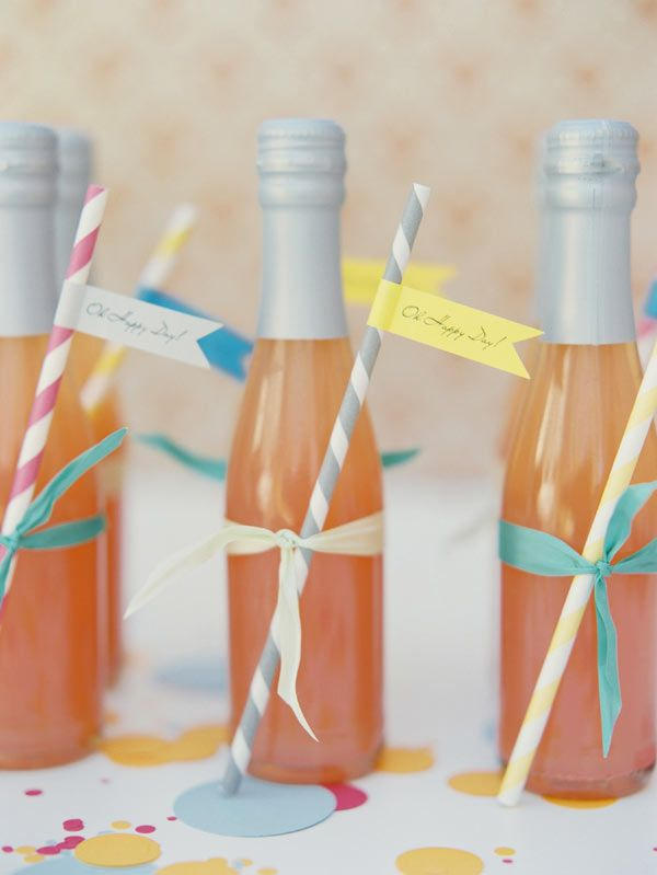 Individual Bottles of Sparkling Juice (or Bubbly) + Ribbon-Tied Retro Straws