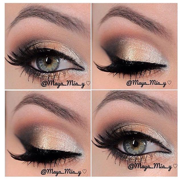 Gold smokey eye makeup