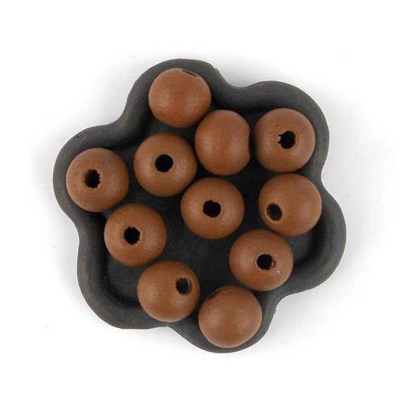 x50 Perle en bois marron 10mm (40C)