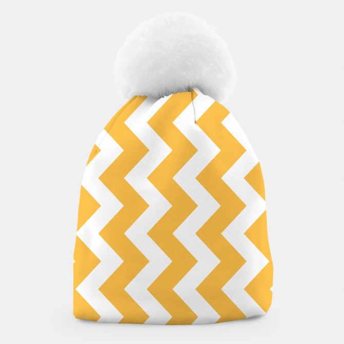 BEANIE WITH YELLOW ZIGZAG STRIPES