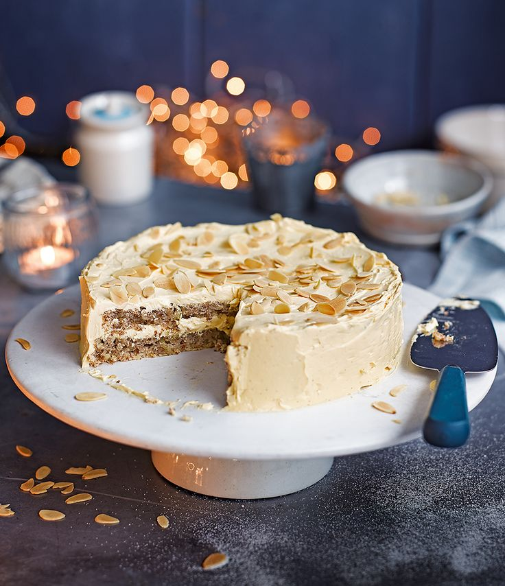 Swedish almond cake, also known as mandeltårta, is light, fluffy cake with a creamy custard and toasted almonds.
