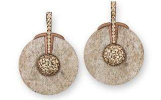 hemmerle earrings in jade diamonds white gold and copper