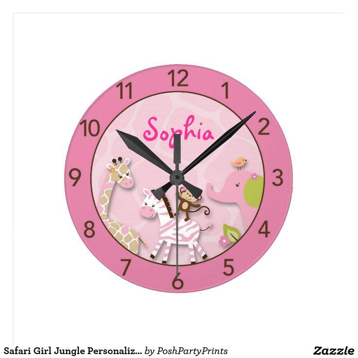 Safari Girl Jungle Personalised Nursery Wall Clock