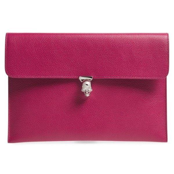 Women's Alexander Mcqueen Calfskin Clutch (40,080 INR) ❤ liked on Polyvore featuring bags, handbags, clutches, fucsia, calfskin leather handbags, skull clutches, purple purse, calfskin purse and alexander mcqueen purse