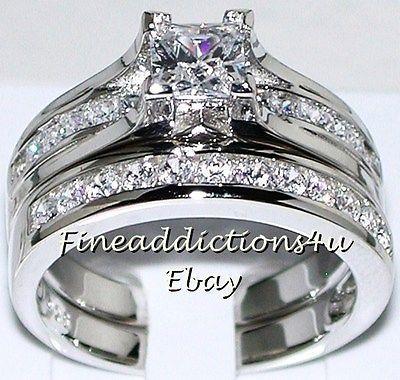 Lab Created 5mm Princess Wedding Engagement Ring Set Sterling Silver 925 Sz 8 | eBay