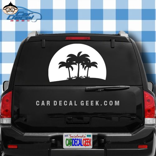 Tropical palm tree sunset car decal