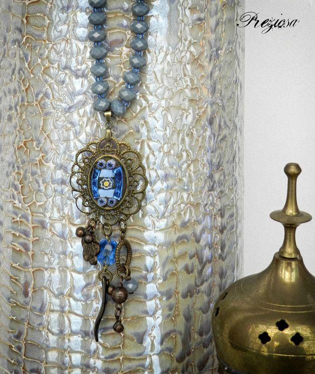 ❀ Gypsy Trend ❀  --- Visita lo shop Preziosa su DaWanda.com ---  Originale collana di ispirazione vintage, con perle in vetro di Boemia e cristallo. Il medaglione centrale in filigrana color bronzo, è realizzato con la tecnica del mosaico includendo vetro e murrine.