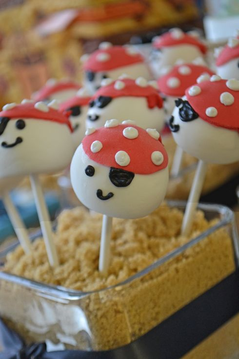 Adorable pirate cake pops for a fun filled pirate party. Treats by Bake Sale.