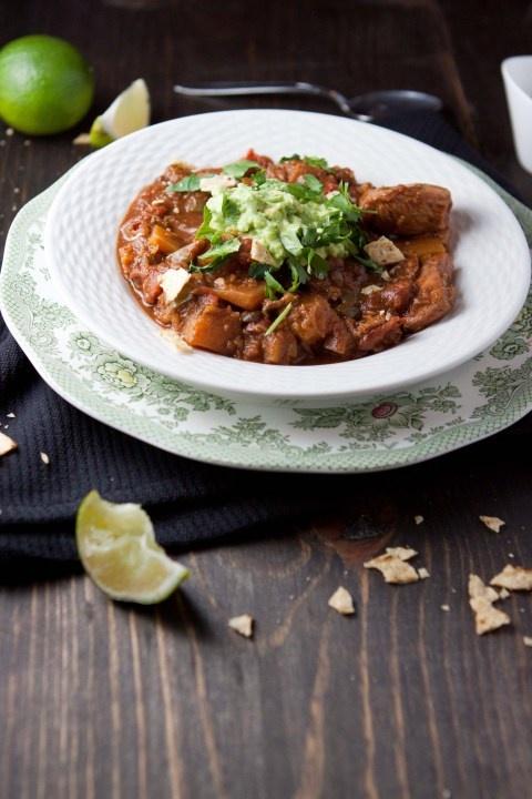 Holy Mole Chicken and Squash Chili via Five and Spice