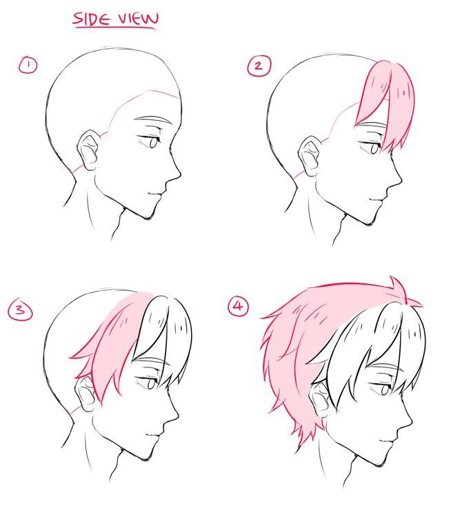 how to draw hair side view