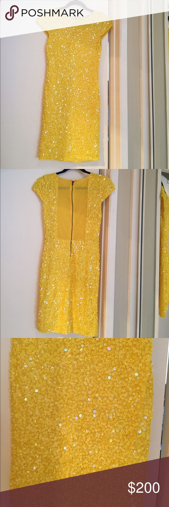 Alice and Olivia yellow sequin dress size xs Alice and Olivia yellow sequin midi dress, cap sleeves, zipper down back with semi sheer paneling, tag has been cut out but fits like an xs, I'm obsessed with this dress and so sad it doesn't fit. Looking for a med or large Alice + Olivia Dresses Midi