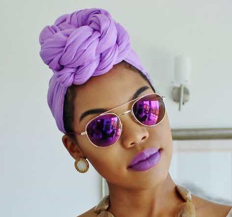 Her headwrap game is hot. I love the purple lip pie to match!