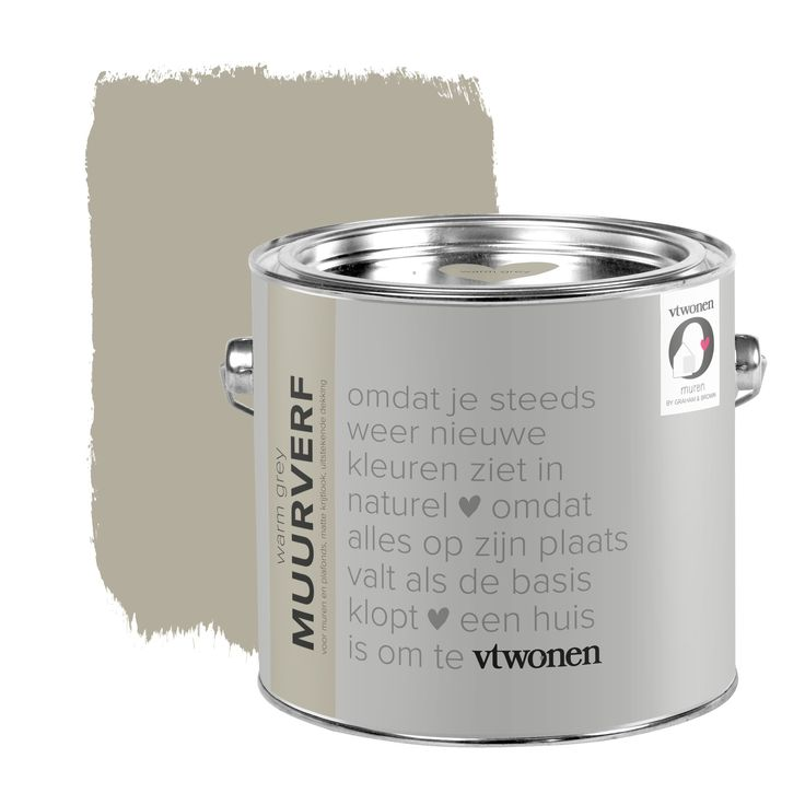 vtwonen krijt mat muurverf warm grey 2,5 l