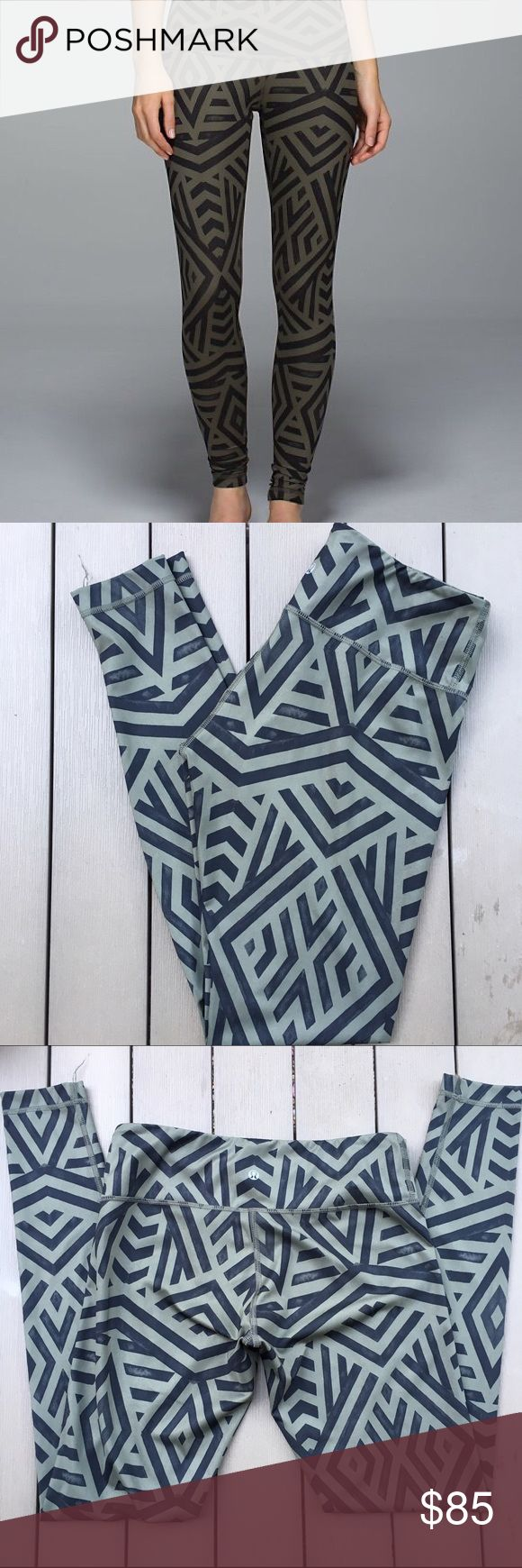 Lululemon Olive Green Chevron Wunder Under Pants Rare and hard to find! Excellent condition. Luxtreme fabric. Size 8. Comes with complimentary Lululemon bag as well! lululemon athletica Pants Leggings
