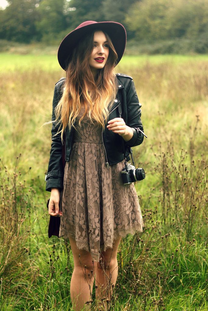 Pretty style with the lace dress and leather jacket x
