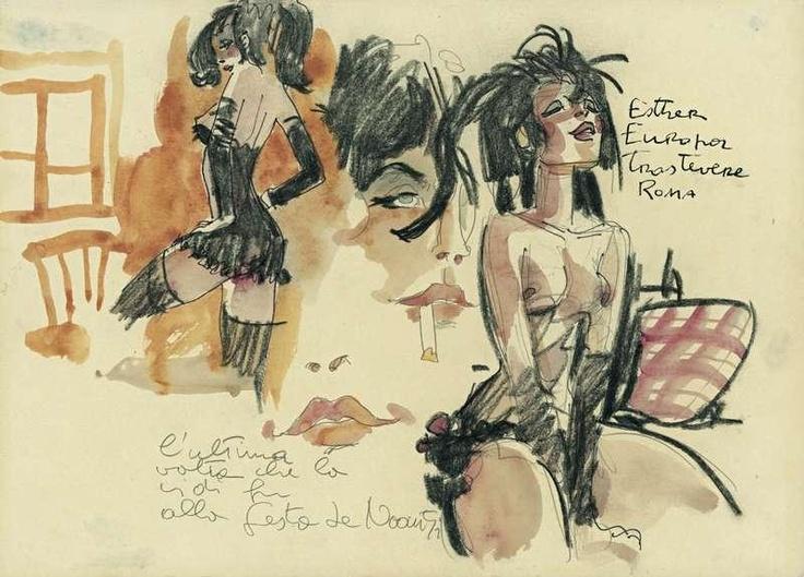 """Hugo Pratt - """"Esther"""" - 1986, aquarelle et fusain"""