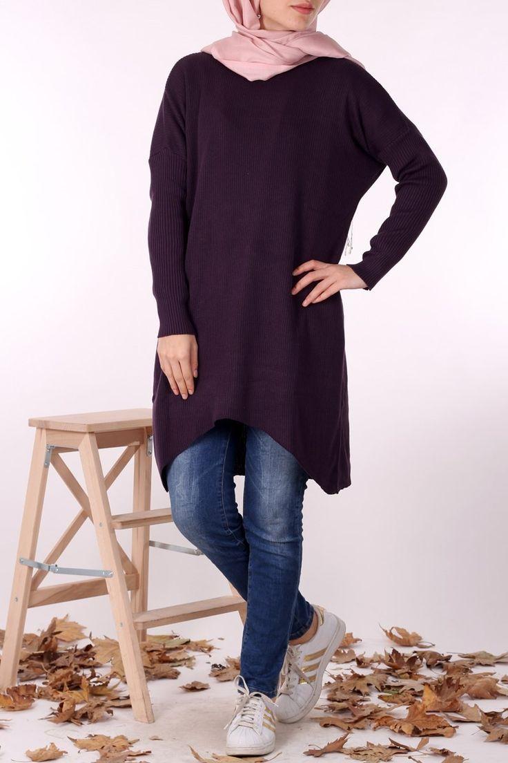 #tesettur Fitilli Triko Tunik 1097  - Mürdüm - Önü içe doğru oval ve kısa, arkası uzun olan fitilli triko tunik, otantik kesimiyle farklı bir duruş sergiliyor. Jean pantolan veya kalem etekler ile kolayca kombinleyip, günlük giyiminizde rahatça kullanabilirsiniz. Ürünün farklı renk seçenekleri mevcuttur. - Price: tl84.90. Buy now at https://www.havvaadem.com/yuvarlak-yaka-fitilli-triko-tunik-murdum-kiraz-triko-16484