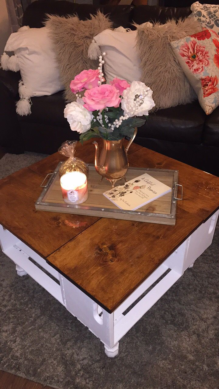 Best 25 wooden crate coffee table ideas on pinterest diy crate diy wooden crates coffee table geotapseo Image collections