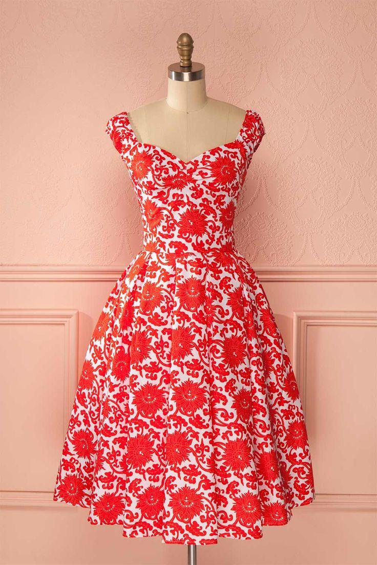 Robe trapèze blanche motif rouge orange manches courtes - White dress red orange print a-line dress short sleeves