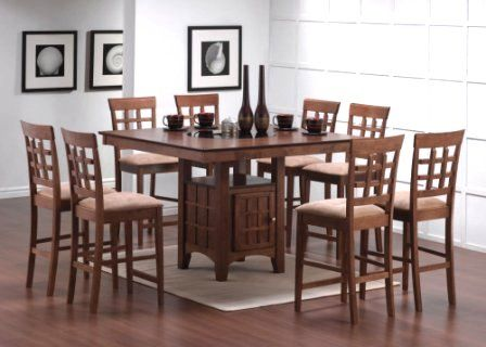 9pcs walnut counter height dining table with lazy susan u0026 8 stools set http