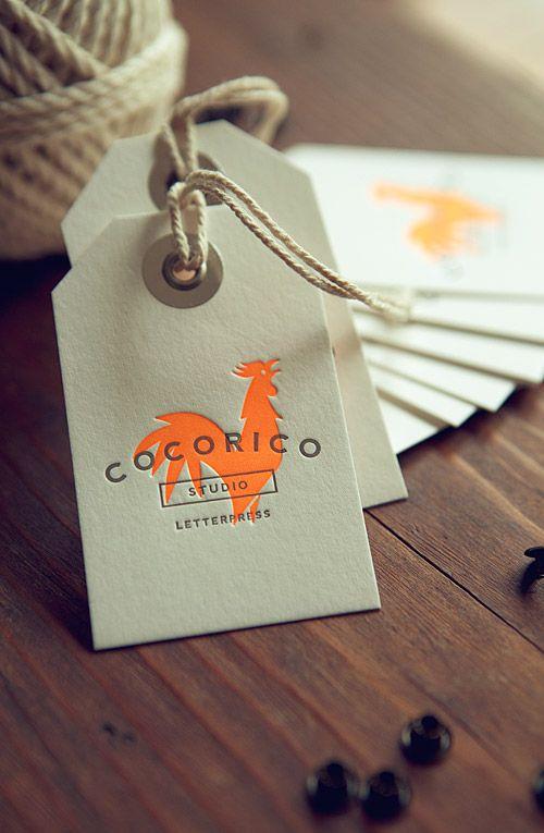 Etiquettes Cocorico fluo orange et gris