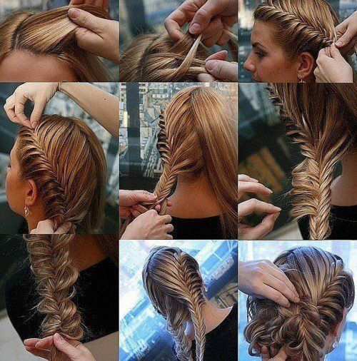 Looks hard... But do-able.: Diy Hairstyles, Hair Tutorials, Fishtail Updo, French Fishtail, Gorgeous Hairstyles, Cute Hair, Fishtail Buns, Fishtail Braids, Avocations Hair