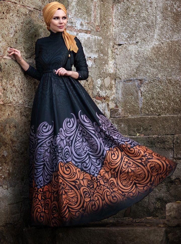 Golden Fall Elbise - Kiremit - Muslima Wear ::
