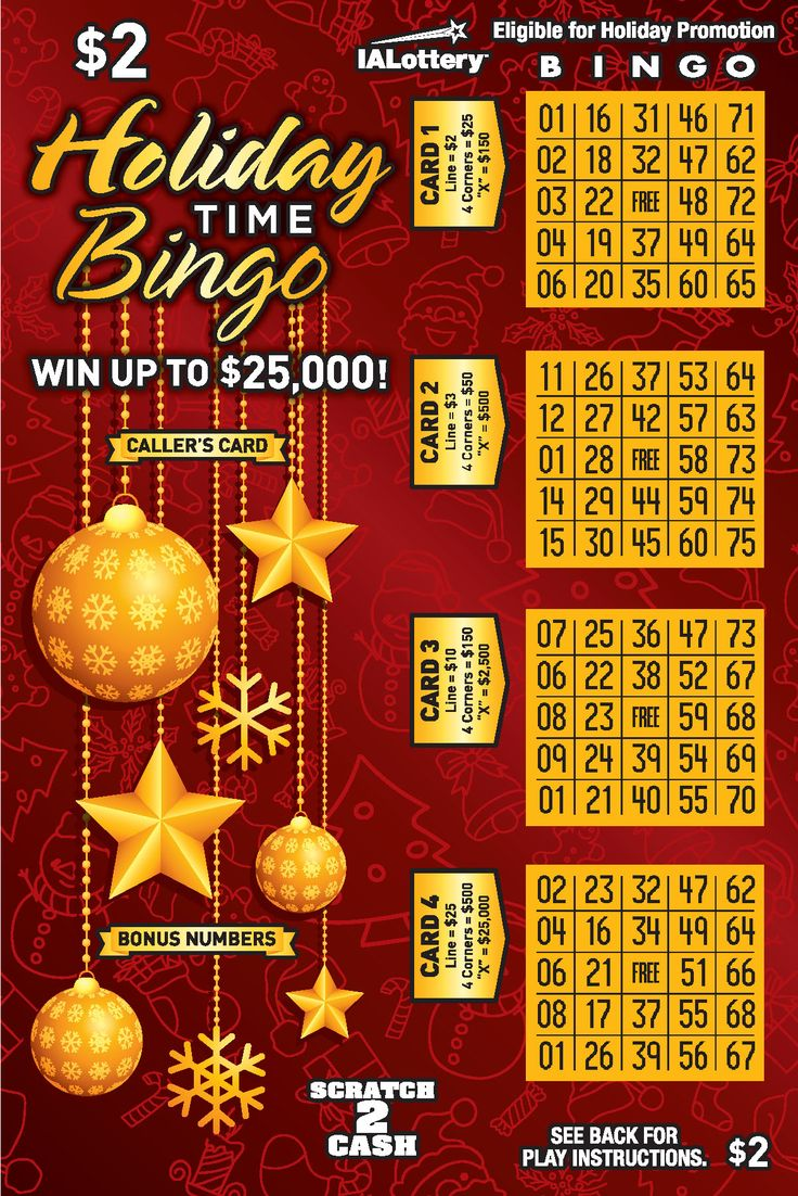 The holiday time bingo scratch game launched at iowa lottery retailers on oct 2 2017 this 2 game offers top prizes of 25 000